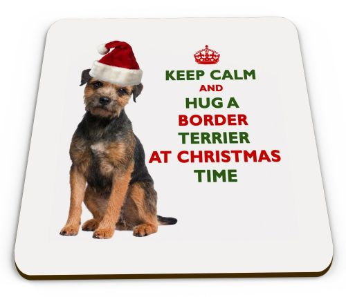 Christmas Keep Calm And Hug A Border Terrier Novelty Glossy Mug Coaster